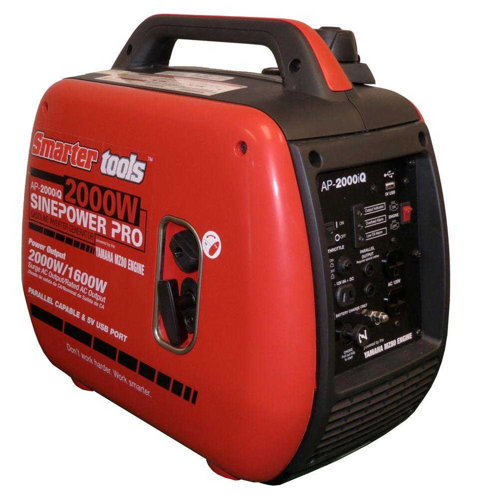 yamaha inverter generator 2000. smarter tools ap-2000iq 1600/2000-watt gasoline powered parallel capable portable inverter generator with yamaha engine-st-ap2000iq - the home depot 2000 0