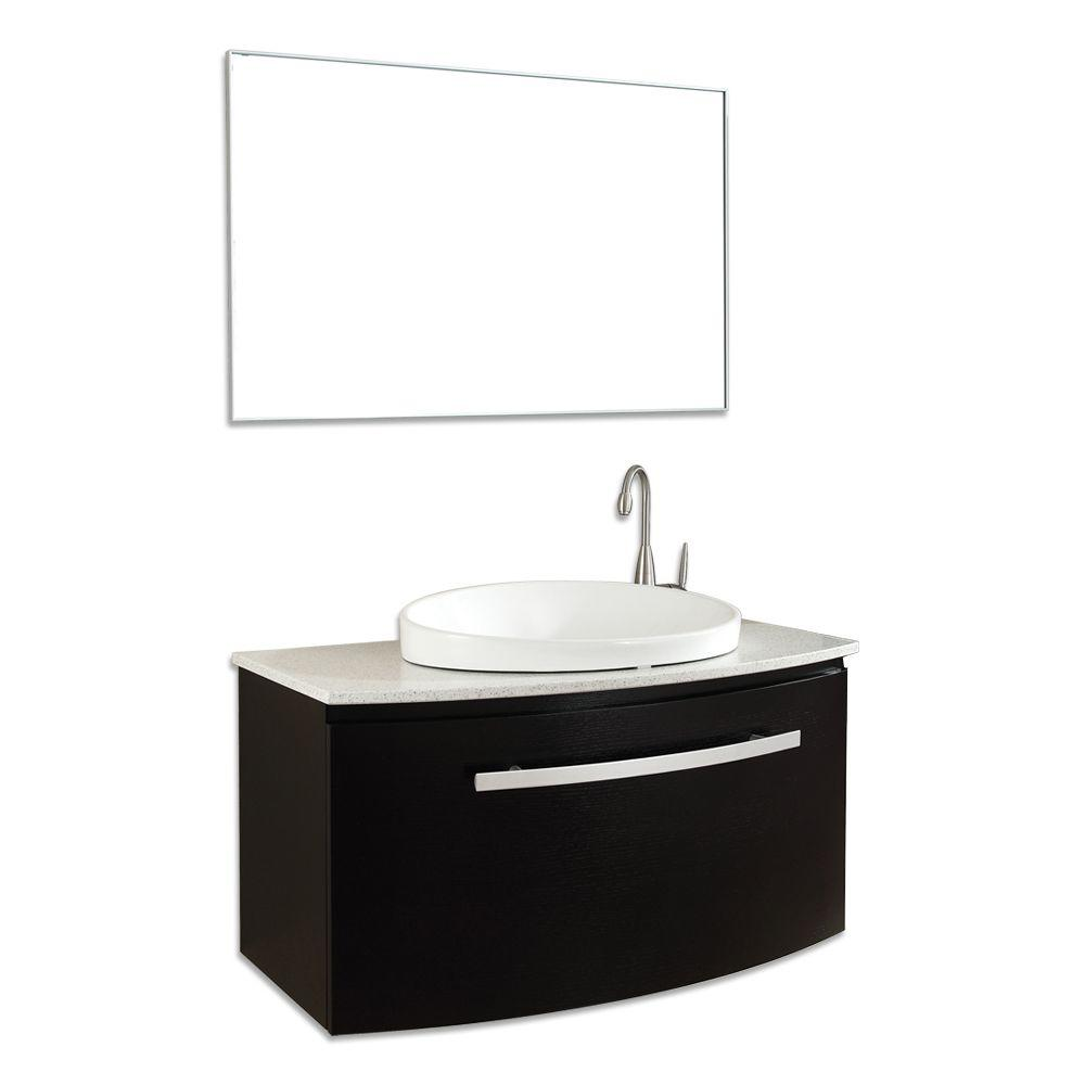 Virtu USA Anabelle 40 in. Single Basin Vanity in Espresso with Stone Vanity Top in Quartzite and Mirror