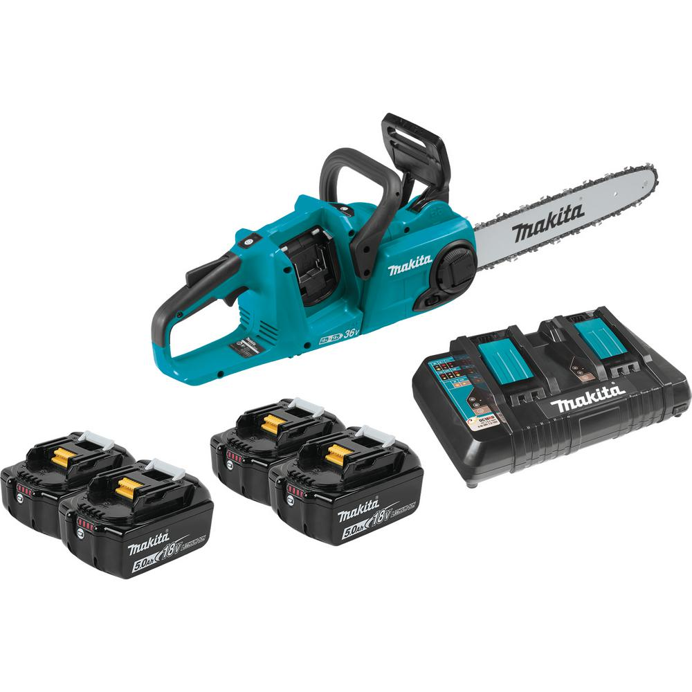 Makita 14 in. 18-Volt X2 (36-Volt) LXT Lithium-Ion Brushless Cordless Chain Saw Kit with Four 5.0 Ah Batteries and Charger