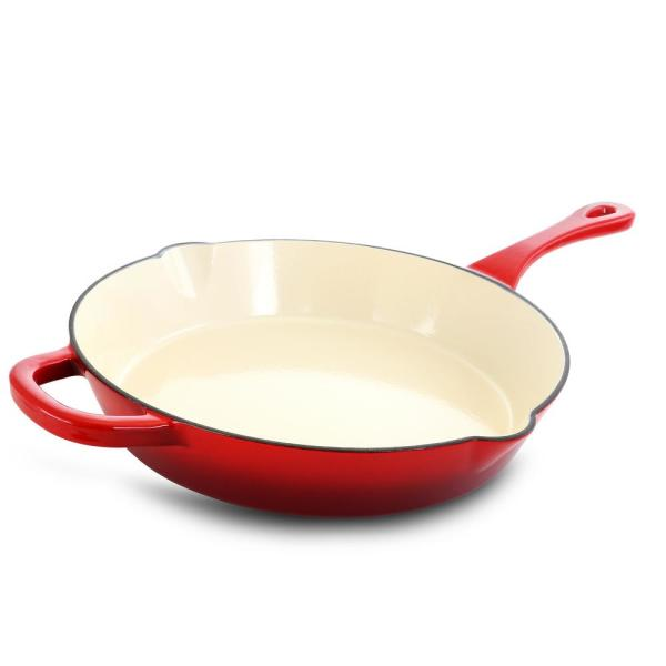 Artisan 12 in. Cast Iron Nonstick Skillet in Scarlet Red with Helper Handle