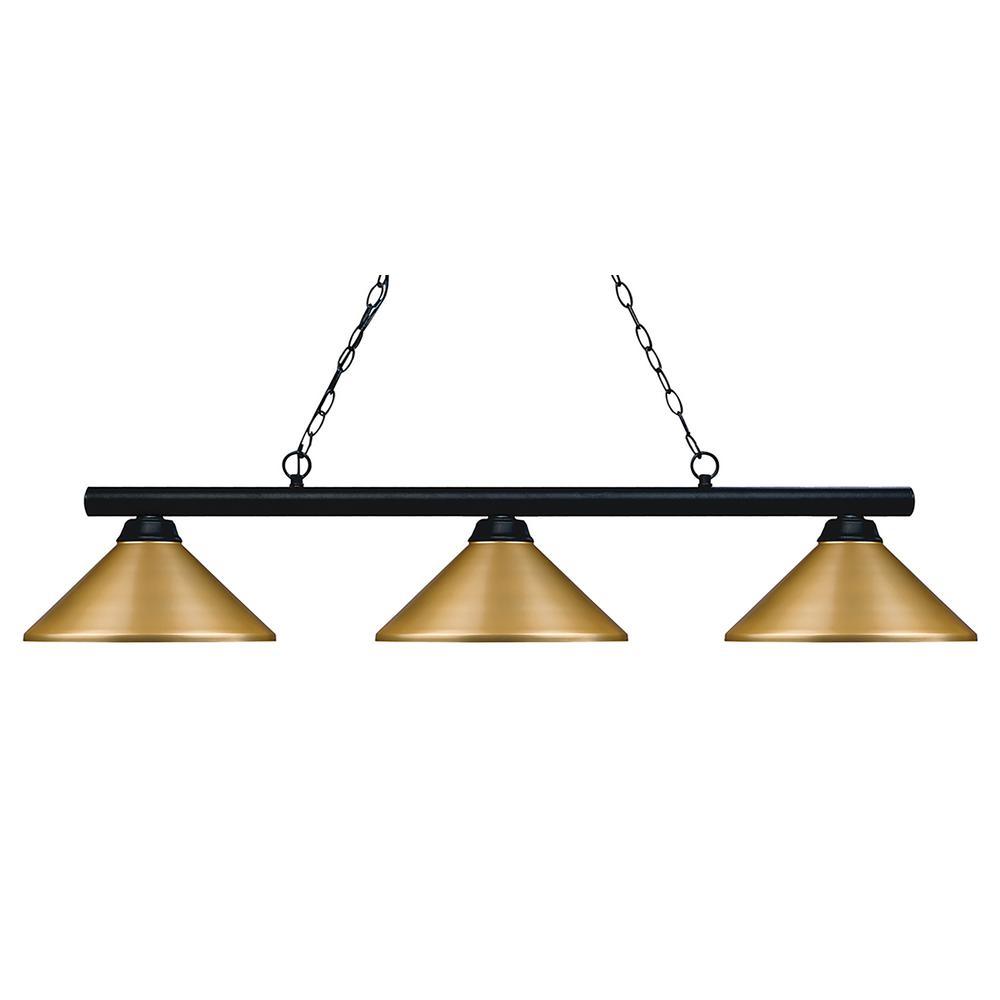 3-Light Matte Black Billiard Light