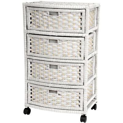 4-Drawer White Natural Fiber Trunk
