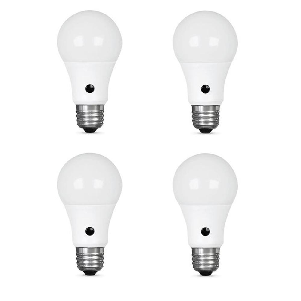 60W Equivalent Soft White (2700K) A19 IntelliBulb Dusk to Dawn CEC Title 20 Compliant 90+ CRI LED Light Bulb (4-Pack)