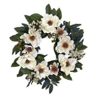 22.0 in. H White Magnolia Wreath