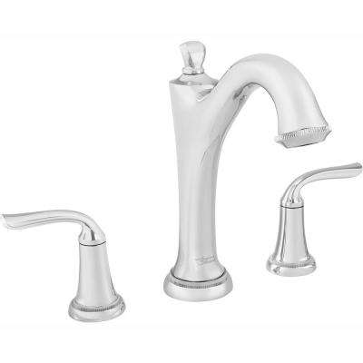Patience 2-Handle Deck-Mount Roman Tub Faucet for Flash Rough-in Valves in Polished Chrome
