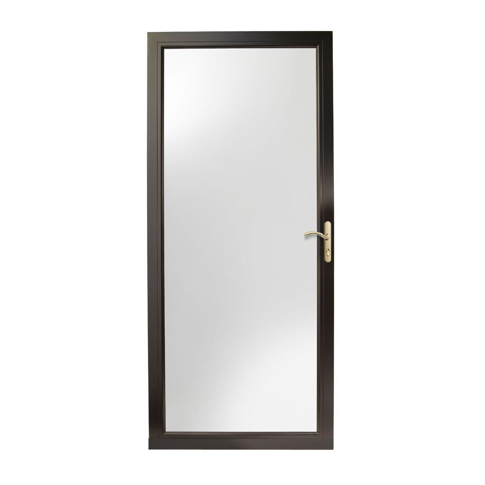 36 in. x 80 in. 3000 Series Black Right-Hand Fullview Easy Install Aluminum Storm Door with Brass Hardware