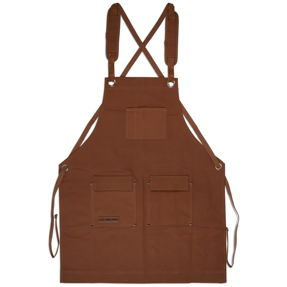 texas canvas wares 27 in. x 34 in. 4-pocket canvas shop apron brown  heavy-duty waxed