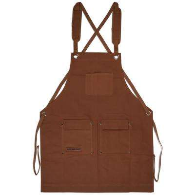 27 in. x 34 in. 4-Pocket Canvas Shop Apron Brown Heavy-Duty Waxed