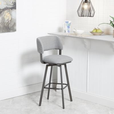 Adler 29 in. Gray Open Wrap Back Adjustable Swivel Bar Stool