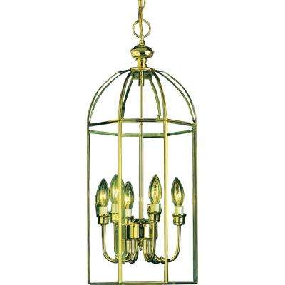 6-Light Indoor/Interior Polished Brass Candle Style Chandelier with Clear Beveled Glass Bird Cage and Inner Candelabra