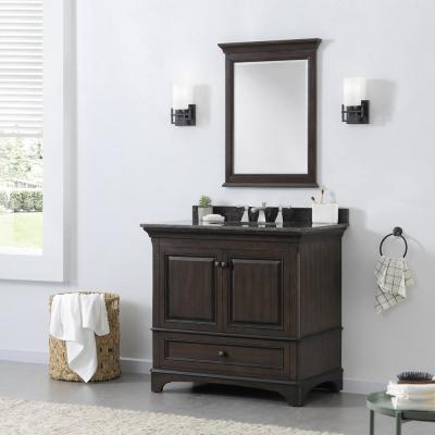 Moorpark 37 in. W Bath Vanity in Burnished Walnut with Granite Vanity Top in Brown with White Basin