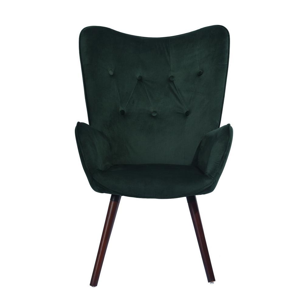 Kas Green Velvet Tufted Arm Chair
