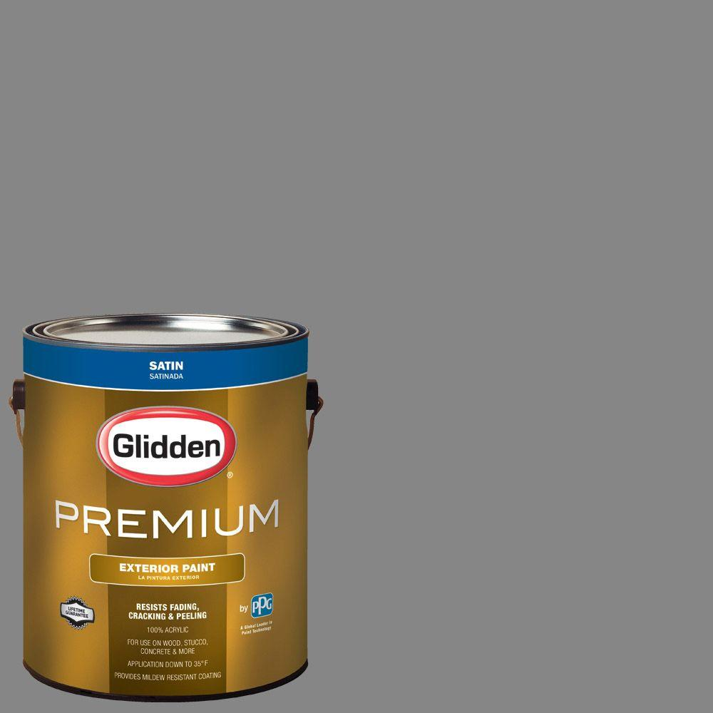 Glidden Premium 1 Gal Hdgcn64u Seal Grey Satin Latex Exterior Paint