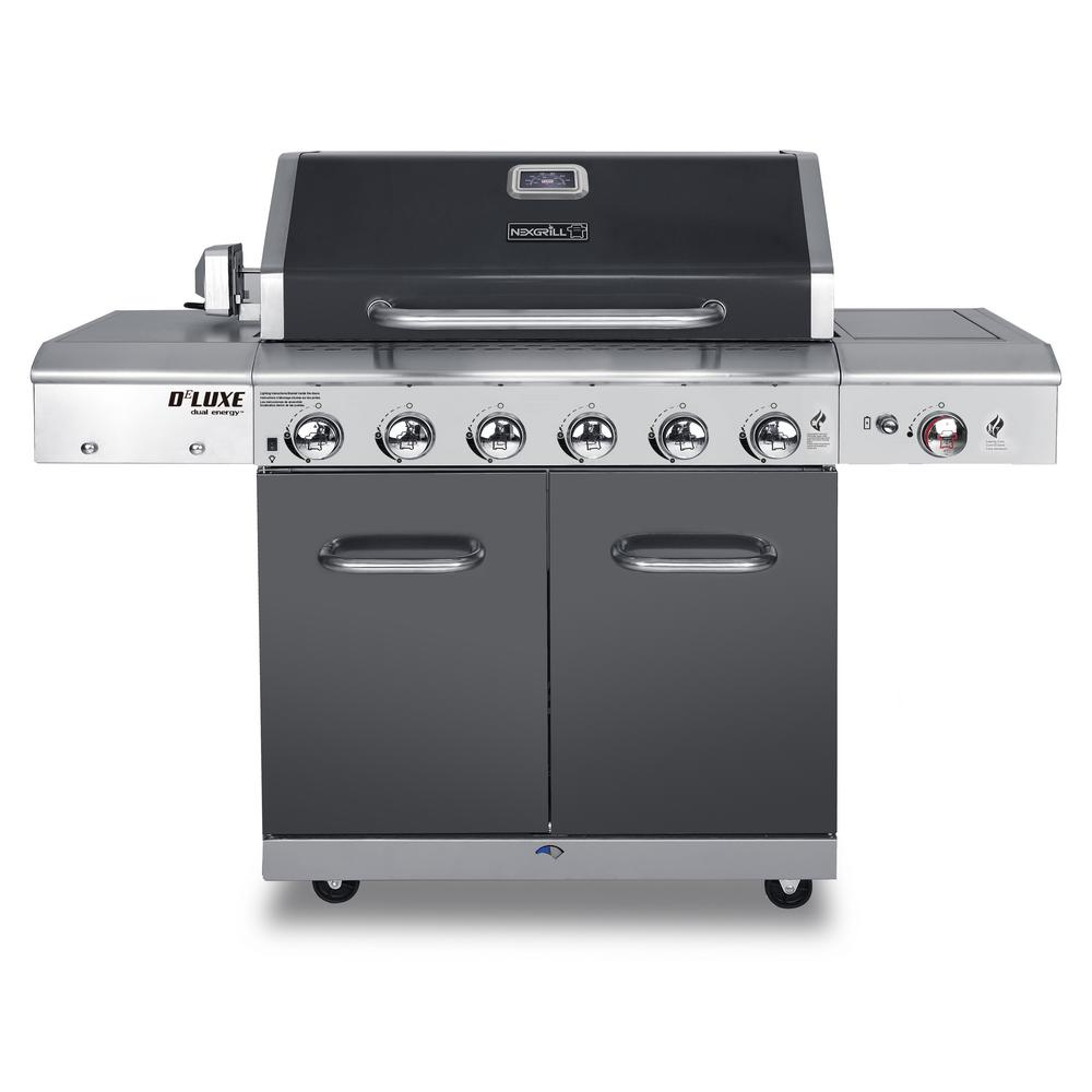 Deluxe 6 Burner Propane Gas Grill In Slate With Ceramic Searing Side
