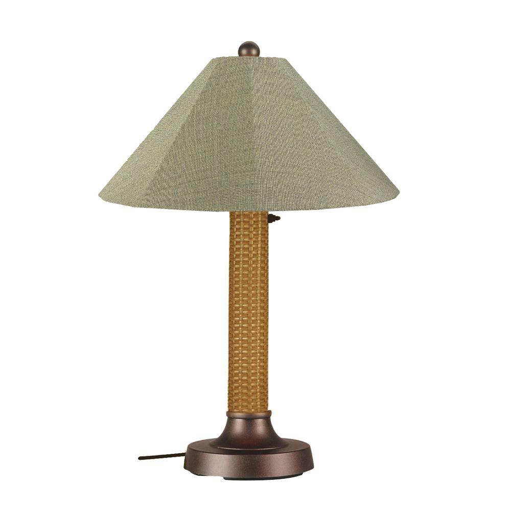 Bahama Weave 34 in. Mocha Cream Outdoor Table Lamp with Basil
