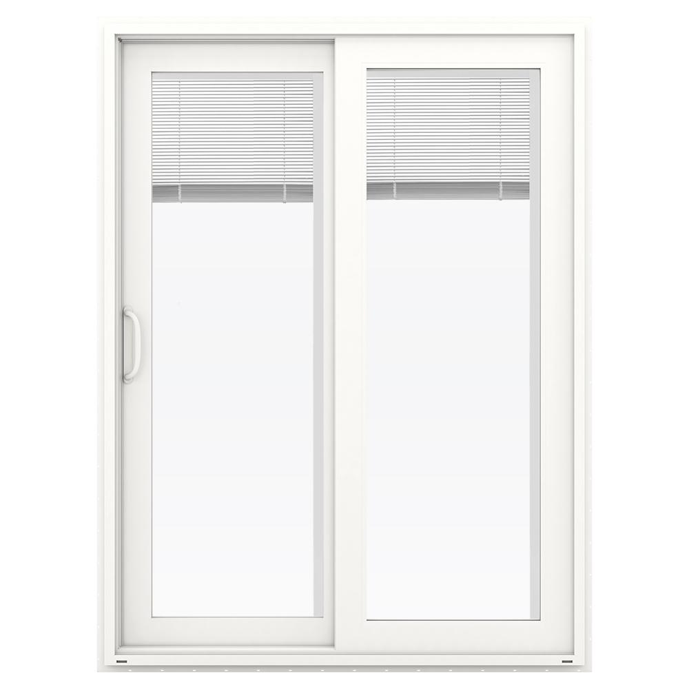 jeld wen 60 in x 80 in v 4500 white vinyl left hand full lite sliding patio door w blinds. Black Bedroom Furniture Sets. Home Design Ideas