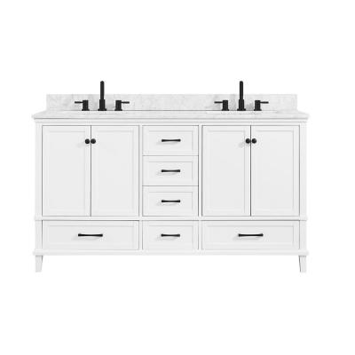 Merryfield 61 in. W x 22 in. D Bath Vanity in White with Marble Vanity Top in Carrara White with White Basin