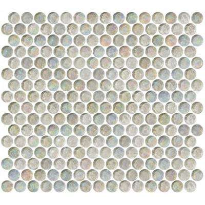 12 in. x 12 in. x 8 mm Tile'ESQUE Penny Round Clear Iridescent Glass Mesh-Mounted Mosaic Tile