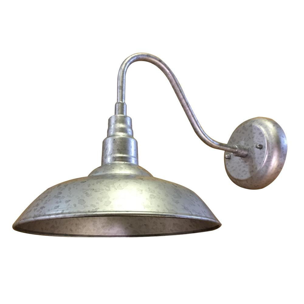 Lora 1 Light Galvanized Finish Outdoor Wall Mount Barn Sconce