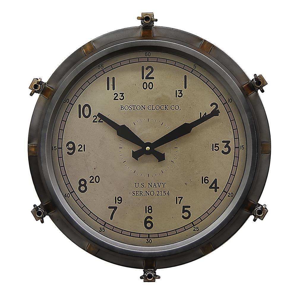 18.5 in. x 3.25 in. Metal Wall Clock in Gray