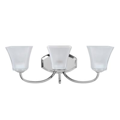 3-Light Chrome Vanity Light with Frosted Glass Shade