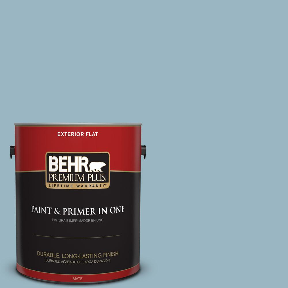 BEHR Premium Plus 1-gal. #S470-3 Peaceful Blue Flat Exterior Paint