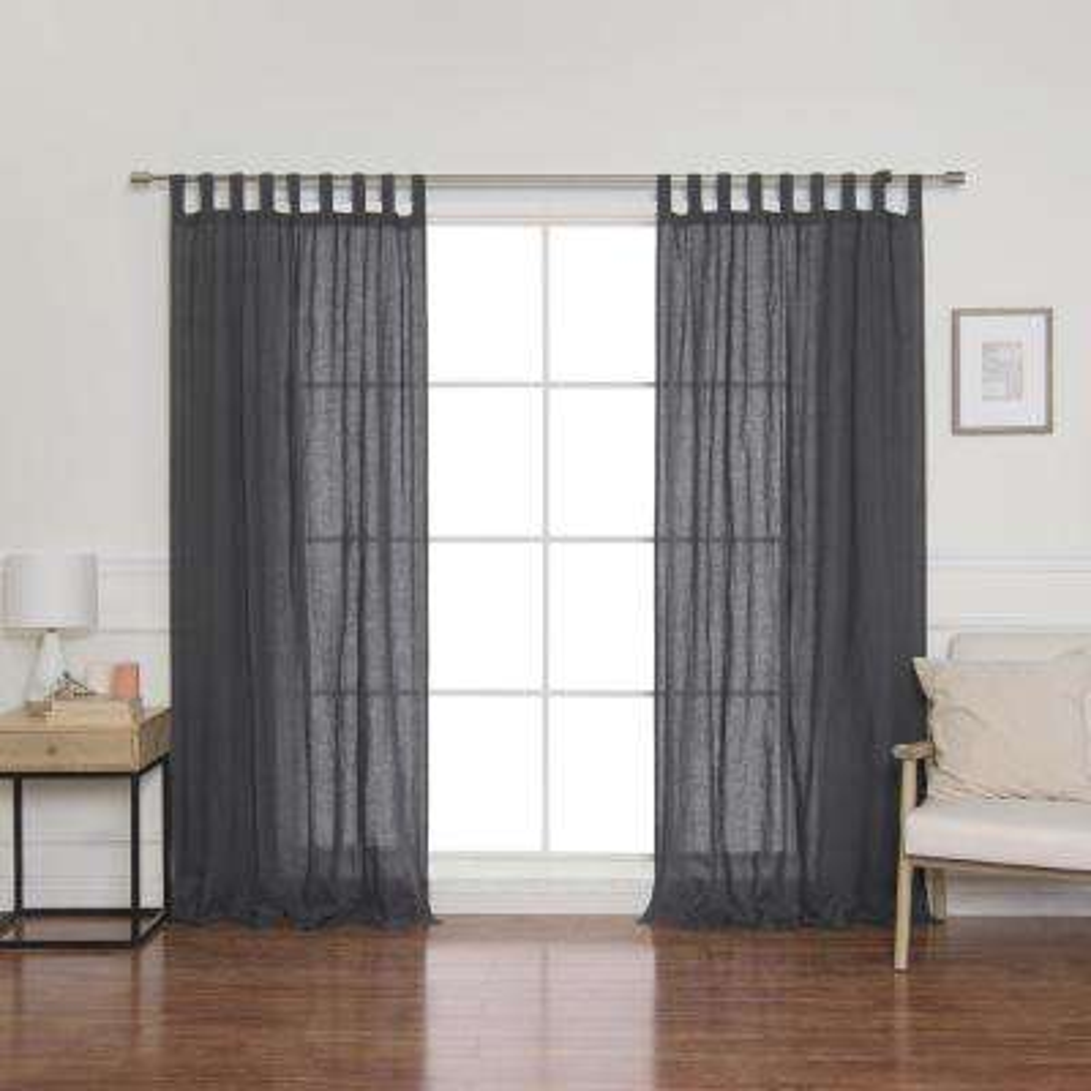 Linen Mid Weight Tab Top Curtain Panel in Dark Grey - 52 in. x 84 in.