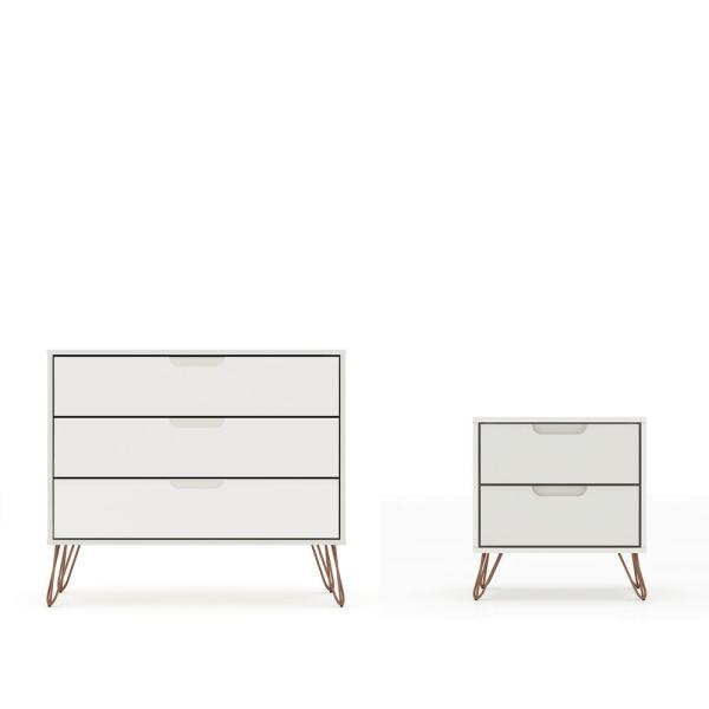 Intrepid 5-Drawer Off White Mid-Century Modern Dresser and Nightstand (Set of 2)
