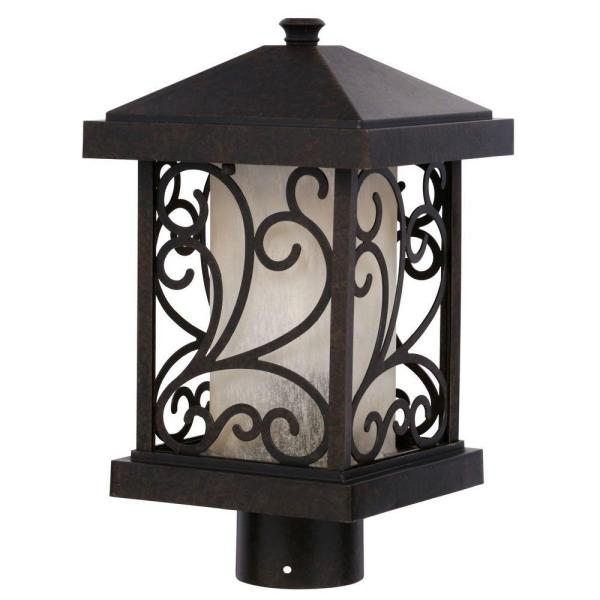 Cypress Collection 1-Light Forged Bronze Outdoor Post Lantern