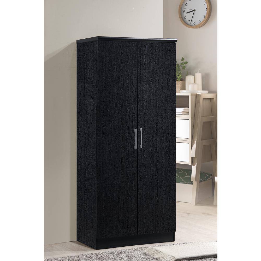 2-Door Black Armoire with Shelves