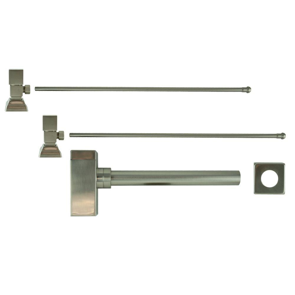 Barclay Products 3/8 in. x 20 in. Brass Lavatory Supply Lines with Square Handle Shutoff Valves and Decorative Trap in Brushed Nickel Barclay provides all your essential bathroom needs. Replace unsightly plumbing under your exposed sink with this decorative lavatory trap and supplies. Enjoy the convenience of accessible water shut-off. Color: Brushed Nickel.