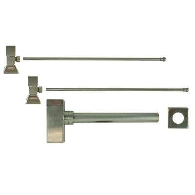 3/8 in. x 20 in. Brass Lavatory Supply Lines with Square Handle Shutoff Valves and Decorative Trap in Brushed Nickel