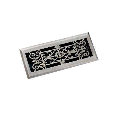 4 in. x 12 in. Decorative Floor Register, Antique Pewter