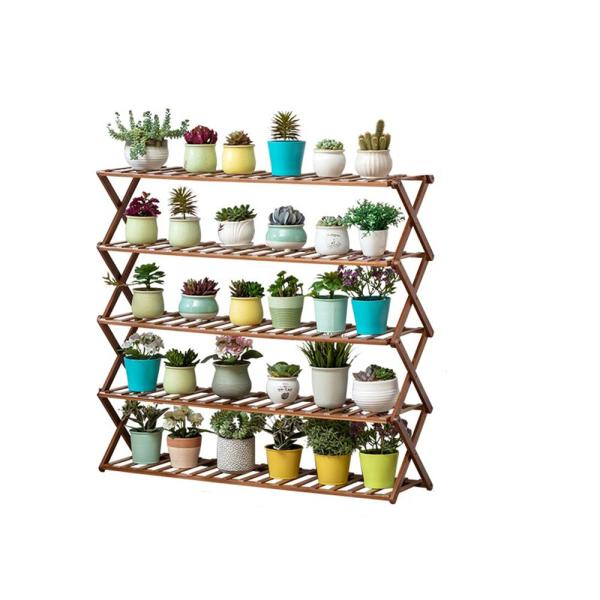 39 In 5 Tier Brown Wooden Pot Plant Stand Foldable Multi Layer Outdoor Indoor Garden Tcht Lwjhj0011 02 The Home Depot