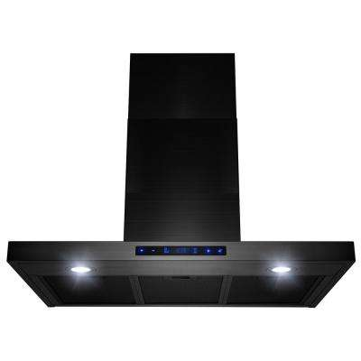 30 in. 450 CFM Ducted Wall Mount Range Hood with Lights in Brushed Black Stainless Steel