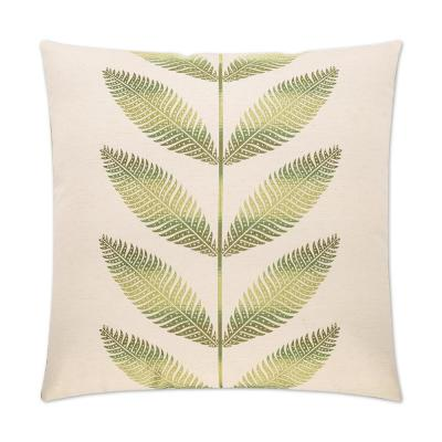 Sago Green Geometric Down 24 in. x 24 in. Throw Pillow