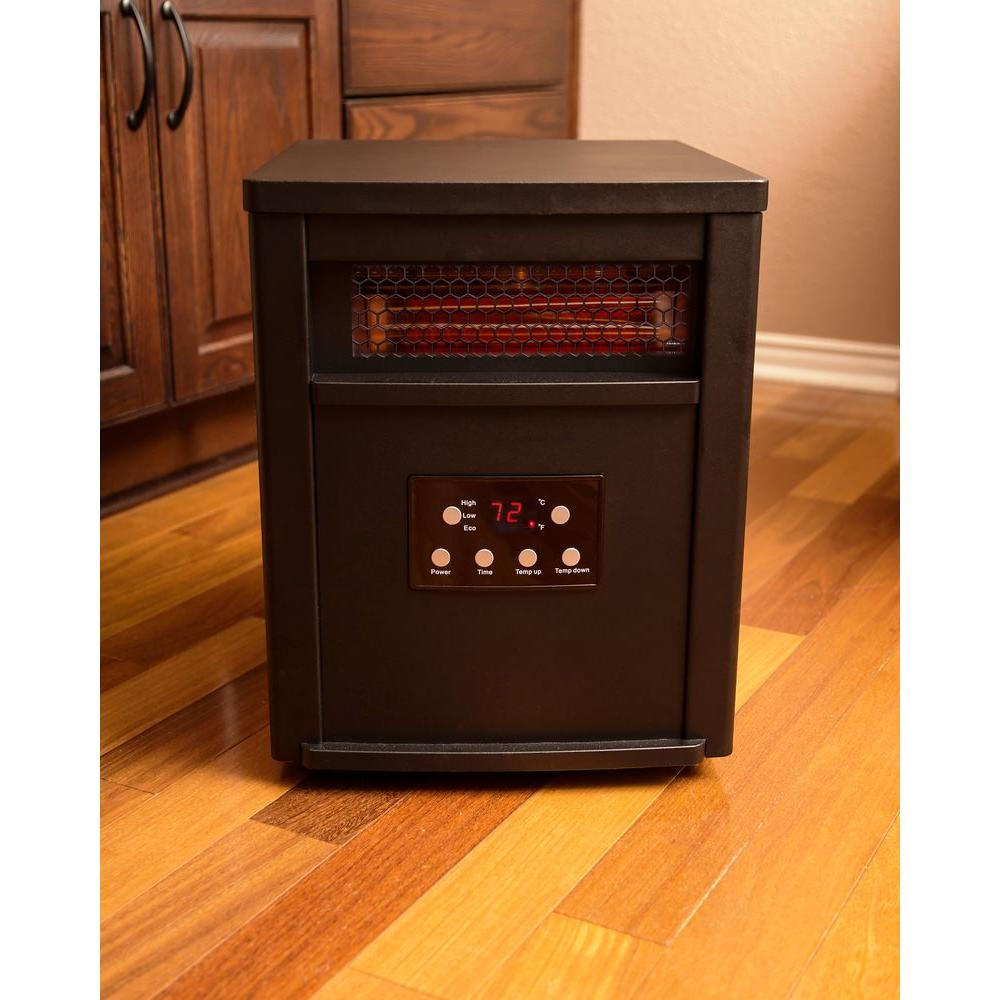 Lifesmart Life Zone Series 1500 Watt 6 Element Quartz Infrared Heater With Metal Cabinet And Remote Control Ls 6dmiqh X The Home Depot