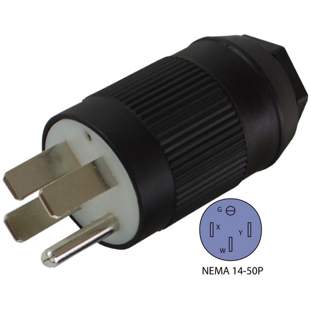 RV/Generator/Range NEMA 14-50P 50 Amp 125/250-Volt 4-Prong Assembly Male Plug