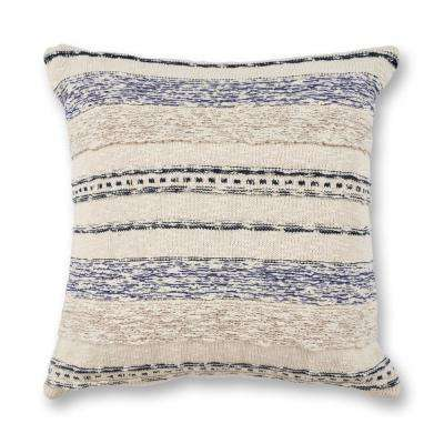 Ivory/Blue Juno 20 in. x 20 in. Decorative Pillow