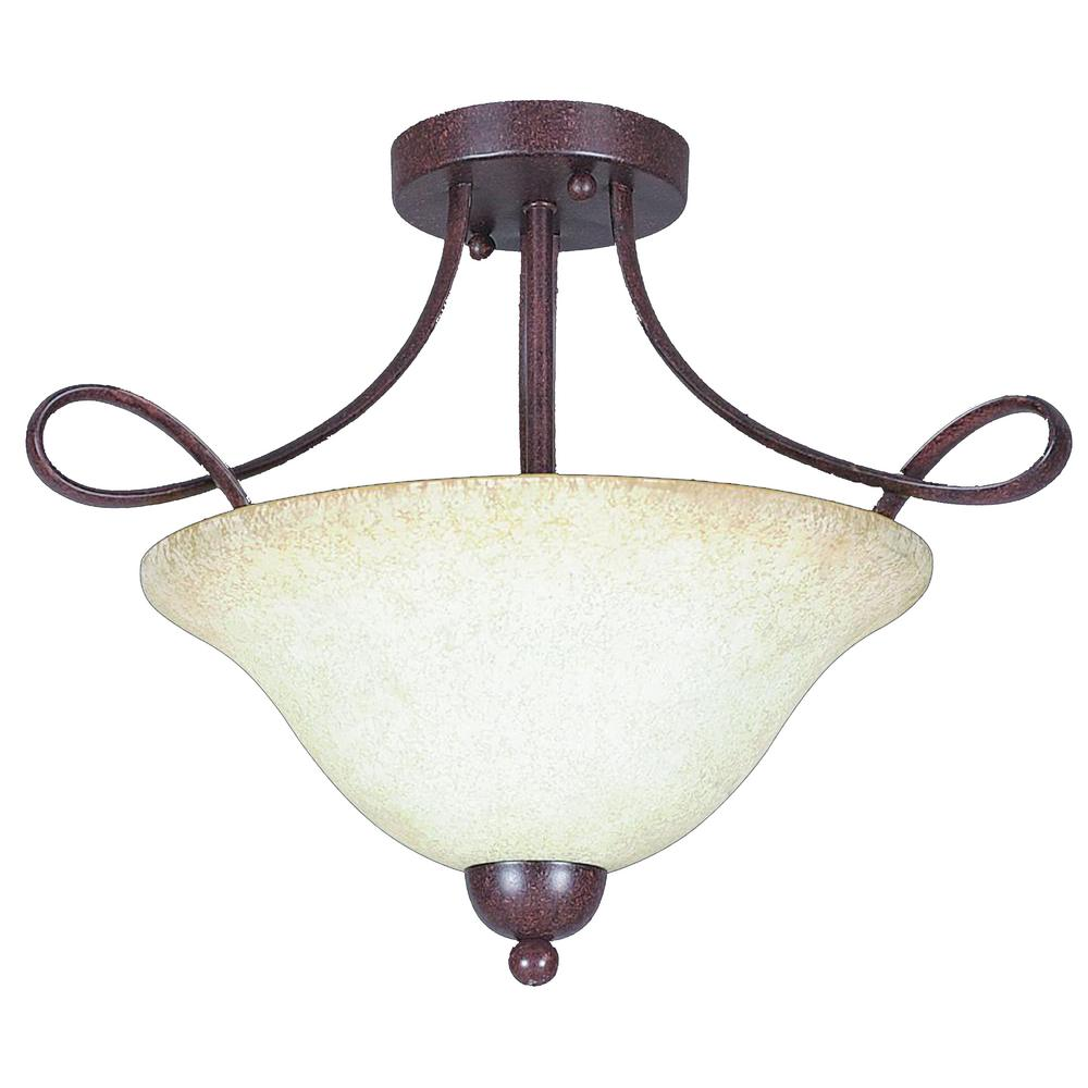 Palisades 2-Light Rubbed Bronze Semi-Flush Mount