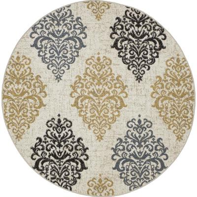 New Casa Damask Ivory/Yellow 8 ft. x 8 ft. Round Area Rug