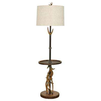 67 in. Brown Floor Lamp with White Hardback Fabric Shade
