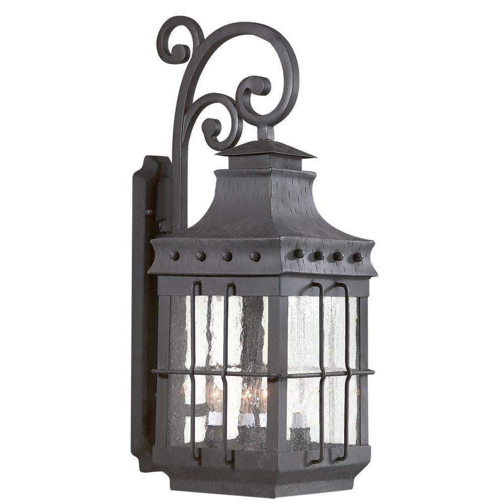 Dover 4-Light Natural Bronze Outdoor Wall Lantern Sconce