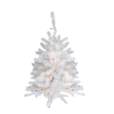 18 in. Pre-Lit Snow White Artificial Christmas Tree with Multi-Color Lights