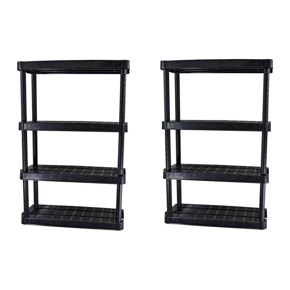Black 4-Tier Plastic Garage Storage Shelving Unit (32 in. W x 55 in. H x 14 in. D)