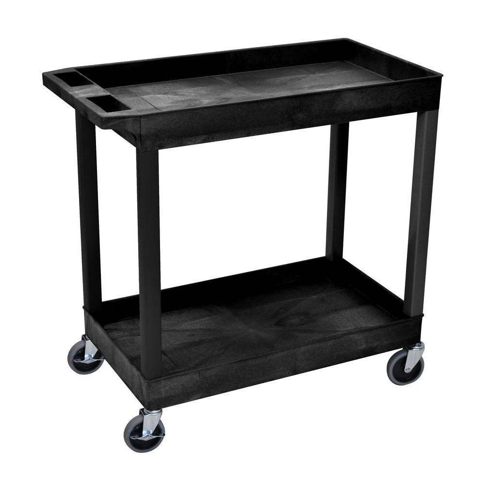 H Wilson E Series 18 in. W x 35 in. L 2-Tub Shelf Utility Cart ...