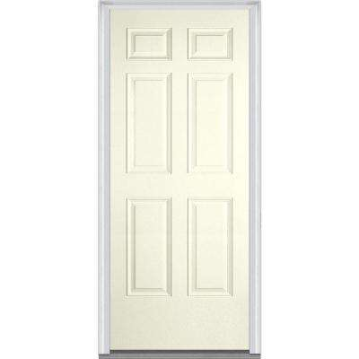 30 in. x 80 in. Left-Hand Inswing 6-Panel Classic Painted Fiberglass Smooth Prehung Front Door