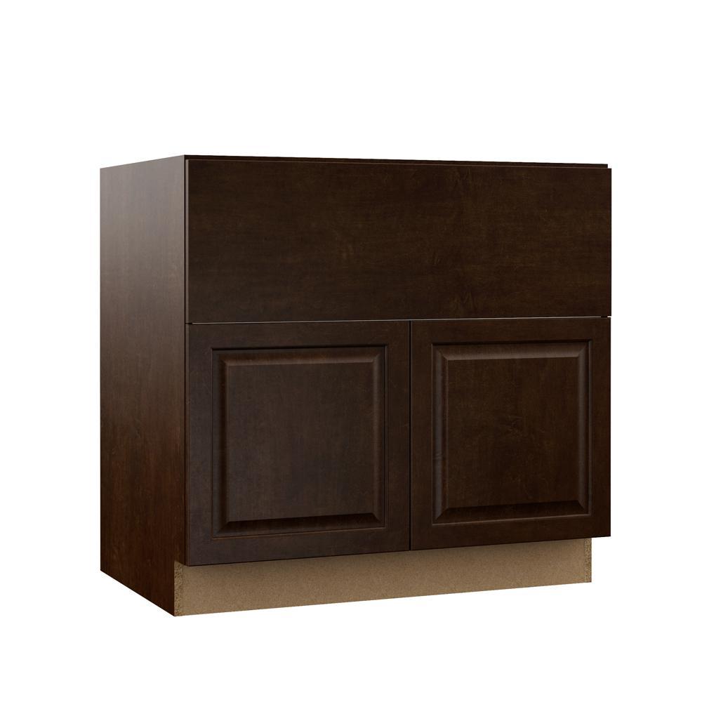 Hampton Bay Designer Series Gretna Assembled 36x34 5x23 75 In Farmhouse Apron Front Sink Base Kitchen Cabinet In Espresso