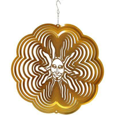 12 in. Gold Sun Whirligig Outdoor Wind Spinner