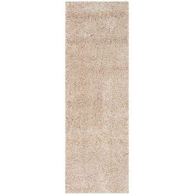 California Shag Beige 2 ft. x 17 ft. Runner Rug